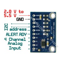 ADS1115 4-Channel 16 Bit ADC Analog Digital Converter I2C Programmable Gain Amp.