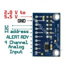 ADS1115 4-Channel 16 Bit ADC Analog Digital Converter I2C Programmable Gain Amp.
