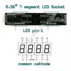 MAX7219 0.56-inch 8-Digit 7-Segment LED Display SPI interface - SOCKET