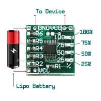 Single Cell 1S Lipo Battery Voltage Status LED Indicator Gauge Module