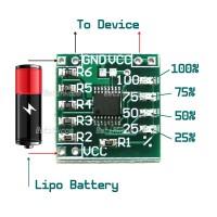 Single Cell 1S Lipo Battery Voltage Status LED Indicator Gauge Module