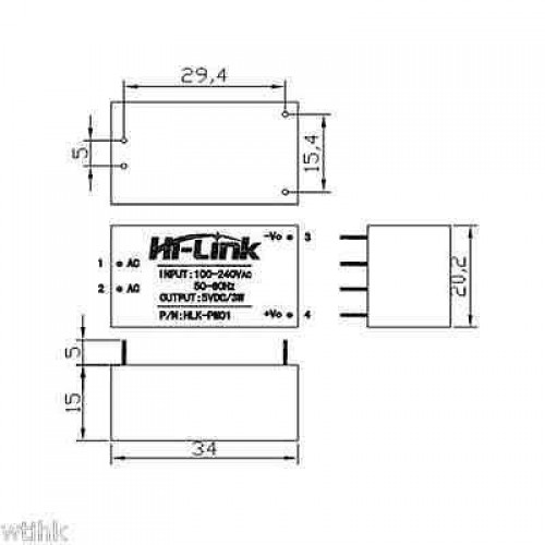 HLK-PM01 90~265v AC to DC Isolated 5v Switching Power Supply