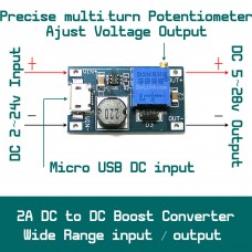 2A DC to DC Module Step Up Boost Adjustable Output 5v to 28v with Micro-USB