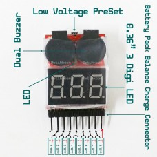 1S to 8S Lipo Battery Voltage Meter Low Voltage Alarm Buzzer Checker Tester
