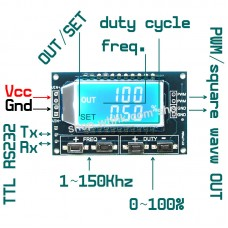 LCD Display 1Hz-150kHz Duty Cycle 0~100% PWM Square Wave Signal Generator
